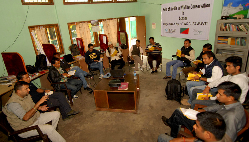 """""""Role of Media in Wildlife Conservation in Assam""""-An interactive session with the journalists of Bokakhat and Kaziranga at Centre for Wildlife Rehabilitation and Conservation (CWRC) organised by IFAW-WTI on Saturday,21st February,2015.Photo: IFAW-WTI"""